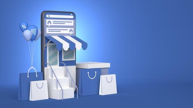 3d-дизайн иллюстрации смартфона для интернет-маркетинга и покупок с копией пространства