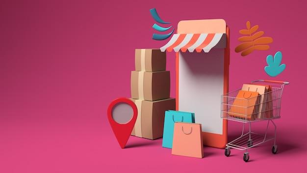 온라인 마케팅 및 복사 공간 쇼핑을위한 3d 스마트 폰 일러스트 디자인