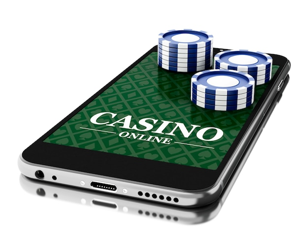 3d smartphone with coins. online casino concept.