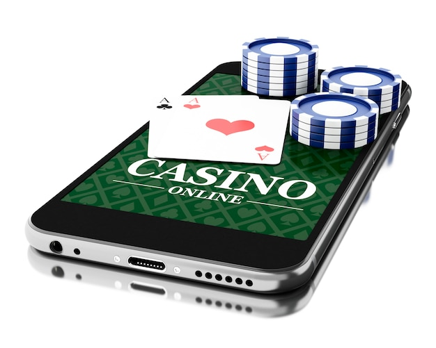 3d smartphone with coins and poker cards. online casino concept.