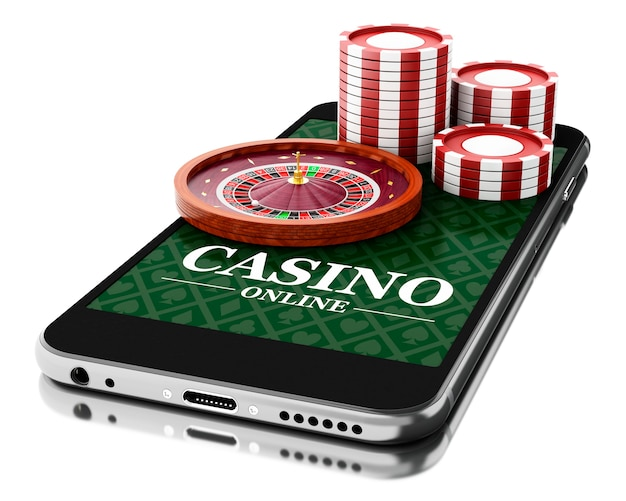 3d smartphone with coins and roulette. online casino concept.