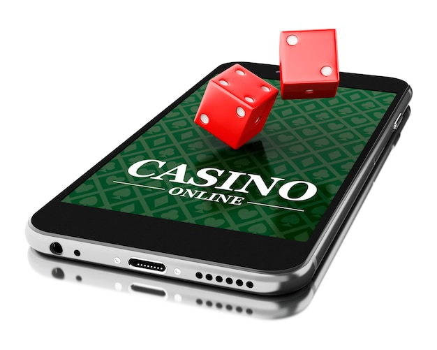 3d smartphone with dices. online casino concept.
