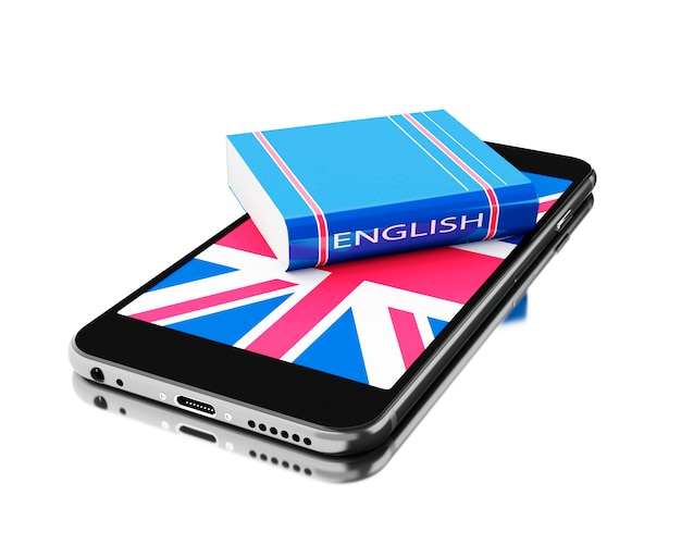 3d smartphone with english book. learning languages.