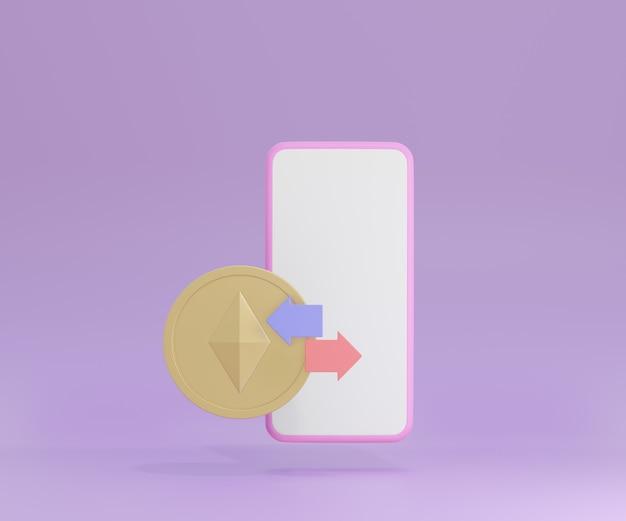 보라색 배경에 금화와 화살표가 있는 3d 스마트폰. 암호화폐 이더리움 개념입니다. 3d 그림 렌더링입니다.