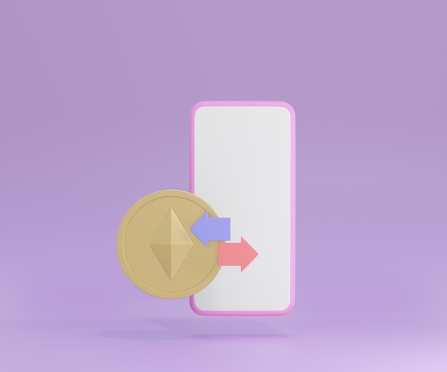 3d smartphone with gold coin and arrow on purple background. cryptocurrency ethereum concept. 3d illustration rendering.
