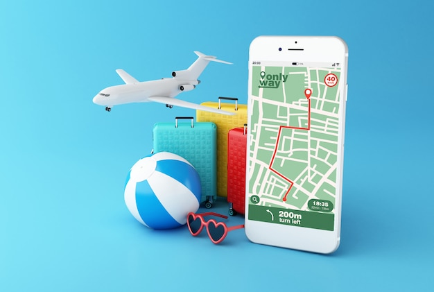 3d smartphone with gps map navigation app with planned route