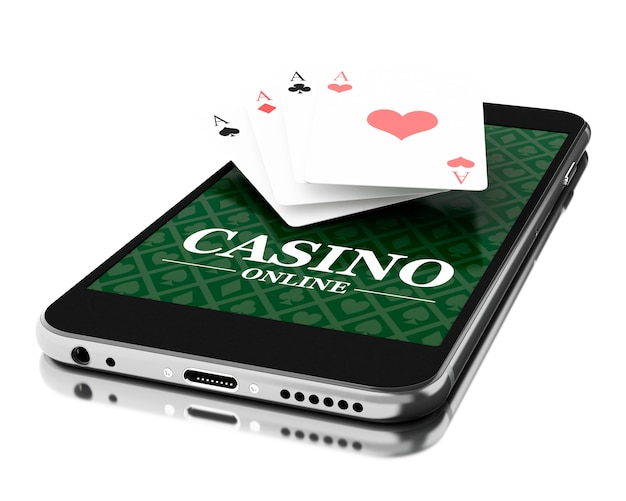 3d smartphone with poker cards. online casino concept.