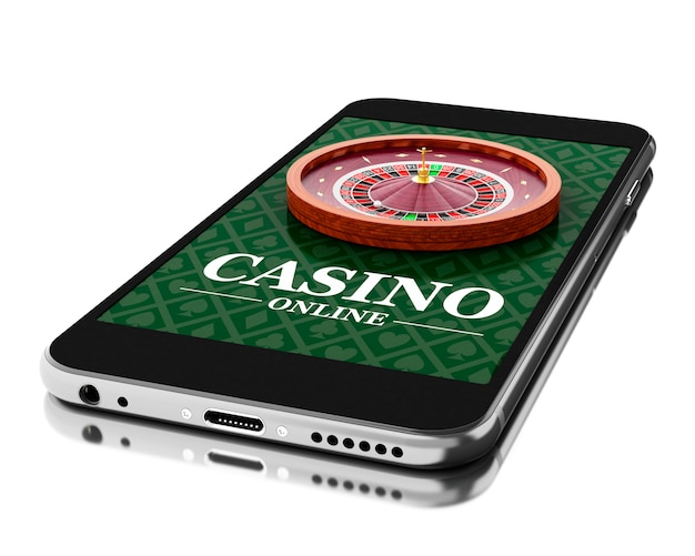3d smartphone with roulette. online casino concept.