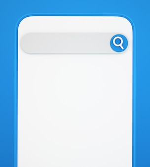 3d-смартфон с панелью поиска на синем фоне, концепция коммуникации и социальных сетей, 3d иллюстрации фона