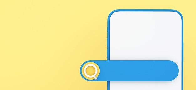 3d-смартфон с панелью поиска на желтом фоне, концепция коммуникации и социальных сетей, 3d иллюстрации фона