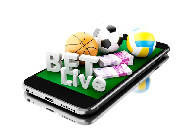 3d smartphone with sport balls, money and bet live. betting concept.