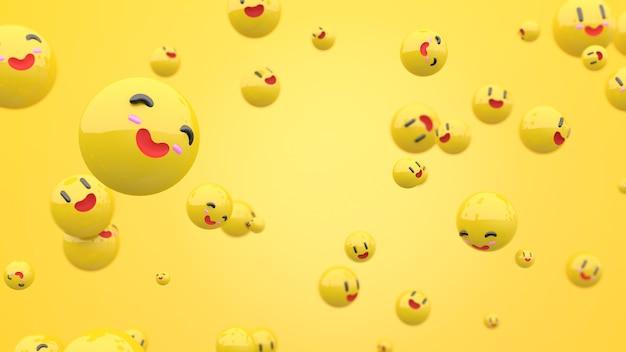 중앙에 노란색 구성의 3d 웃는 얼굴
