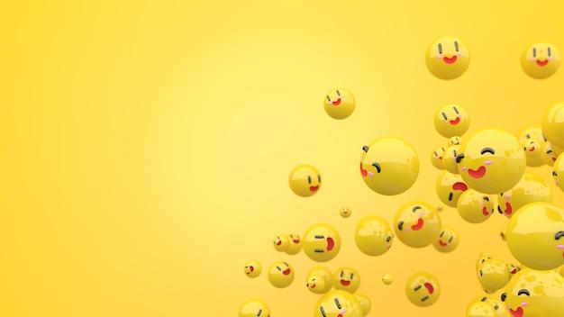노란색 구성의 3d 웃는 얼굴