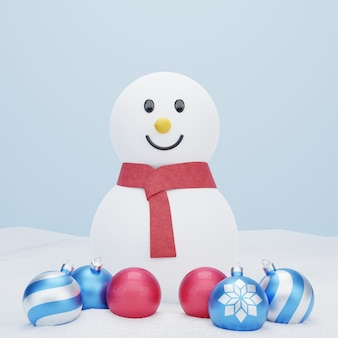3d snowman on snow with christmas balls