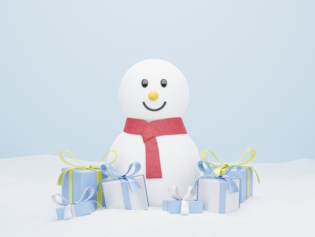 3d snowman on snow with christmas gifts