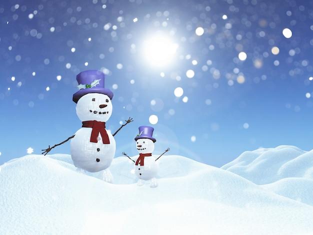 3d snowmen in snowy landscape