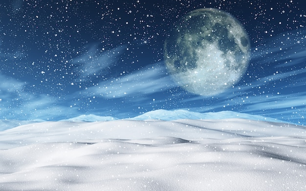 3d snowy christmas landscape with moon