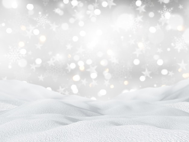 3d snowy landscape on a christmas snowflakes and stars background