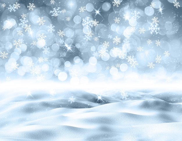 3d snowy landscape with snowflakes