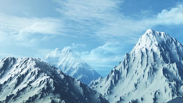 3d snowy mountain range