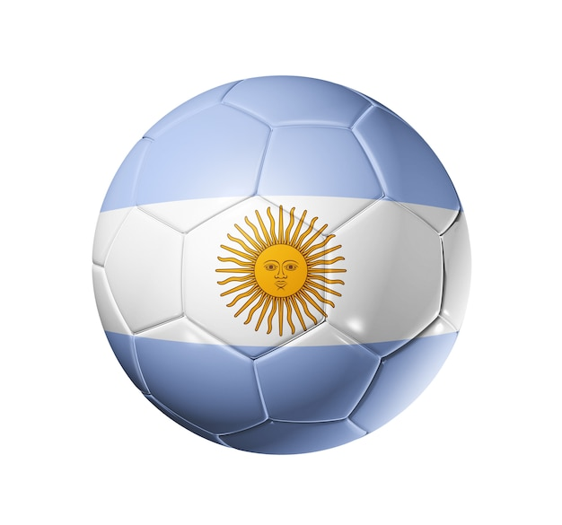 3d soccer ball with argentina team flag