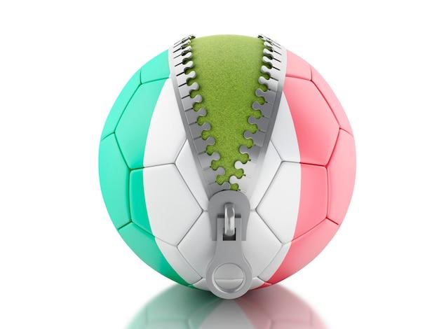 3d soccer ball with italian flag