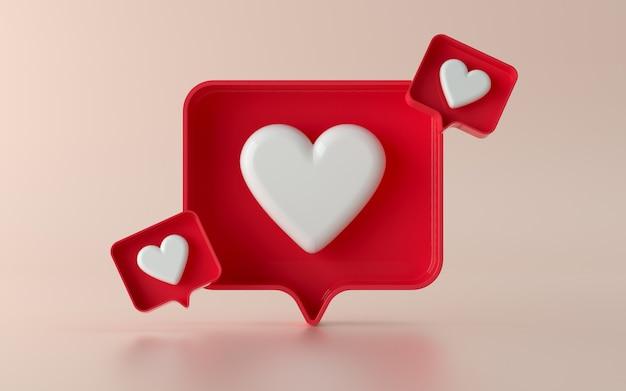3d social media like notification icon illustration in 3d