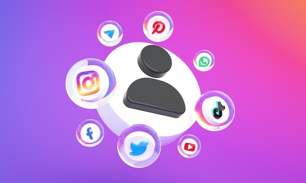 3dソーシャルメディアマーケティングの背景プレミアム写真