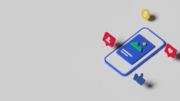 3d 소셜 미디어 마케팅 그림 개념입니다. 프리미엄 사진