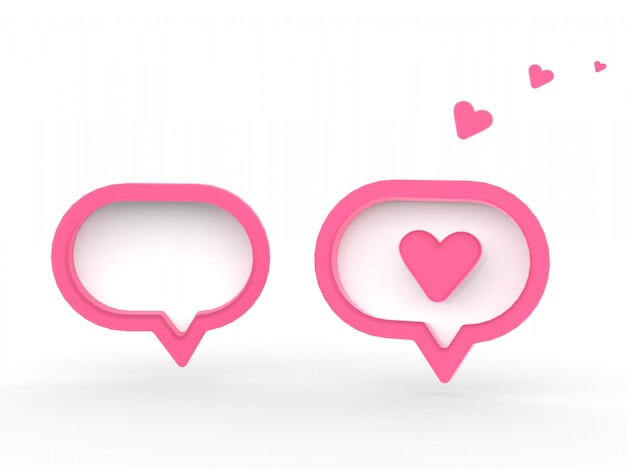 3d social media notification love like heart icon in red rounded square pin isolated on white wall background