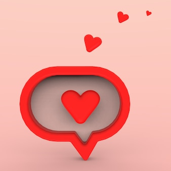 3d social media notification, love like heart icon in red rounded square pin with shadow and reflection. 3d rendering