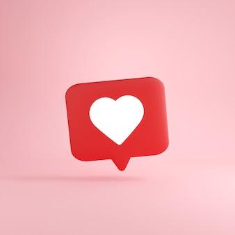 3d-уведомление в социальных сетях, белое, как значок сердца в красном речевом пузыре