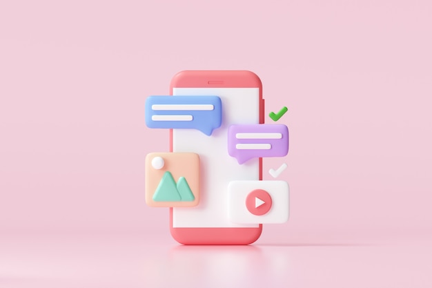 3dソーシャルメディアプラットフォーム、オンラインソーシャルコミュニケーションアプリケーションのコンセプト、絵文字、ウェブページ、検索アイコン、チャット、スマートフォンの背景を持つチャート。 3dイラスト