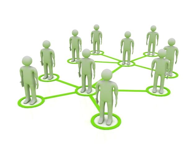Концепция 3d социальной сети на белом фоне
