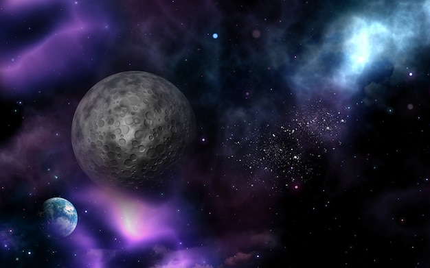 3d space background with fictional moon and planet