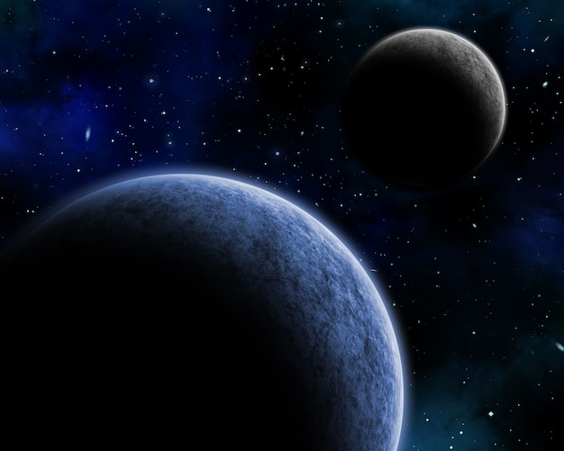 3d space background with fictional planets in a night sky