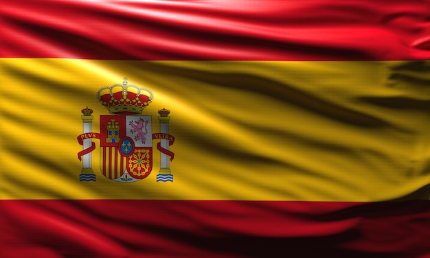 3d 스페인 국기 배경 스페인 국가 상징 바람 세계 플래그 개념에 흔들며