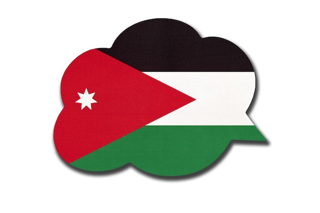 3d speech bubble with jordanian national flag isolated on white background. speak and learn arabic language. symbol of jordan country. world communication sign.