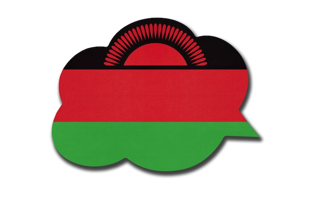 흰색 배경에 고립 된 말라위 국기와 함께 3d 연설 거품. 말라위 국가의 상징. 세계 통신 기호입니다.