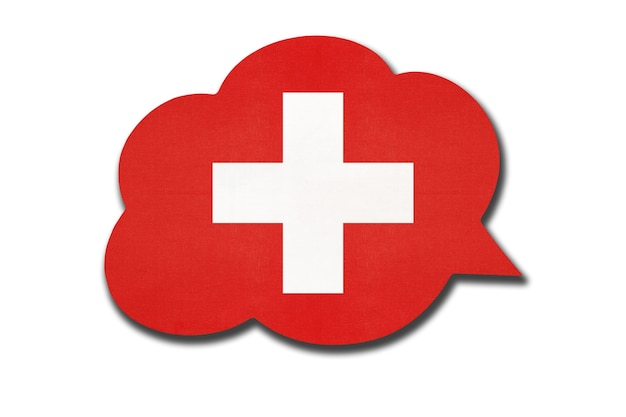 白い背景に分離されたスイスの国旗と3d吹き出し。言語を話し、学びます。スイスの国のシンボル。世界のコミュニケーションサイン。