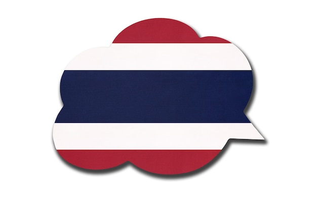흰색 배경에 격리된 태국 또는 시암 국기가 있는 3d 연설 거품. 태국어를 말하고 배우십시오. 국가의 상징입니다. 세계 통신 기호입니다.