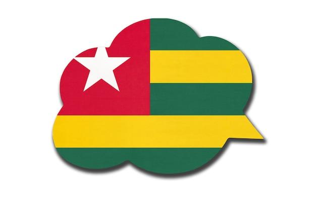 흰색 배경에 고립 된 토고 공화국 국기와 함께 3d 연설 거품. 말하고 언어를 배웁니다. 토고 국가의 상징입니다. 세계 통신 기호입니다.
