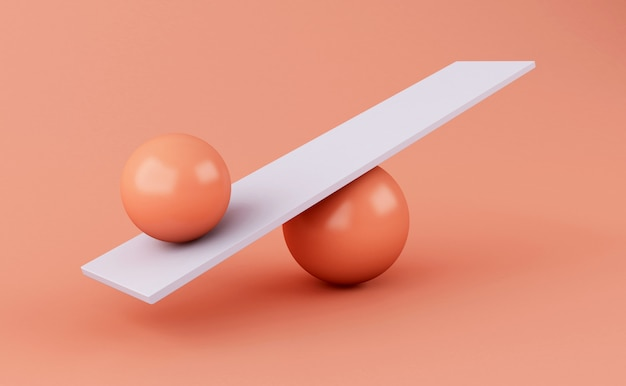 3d sphere balancing on a seesaw.