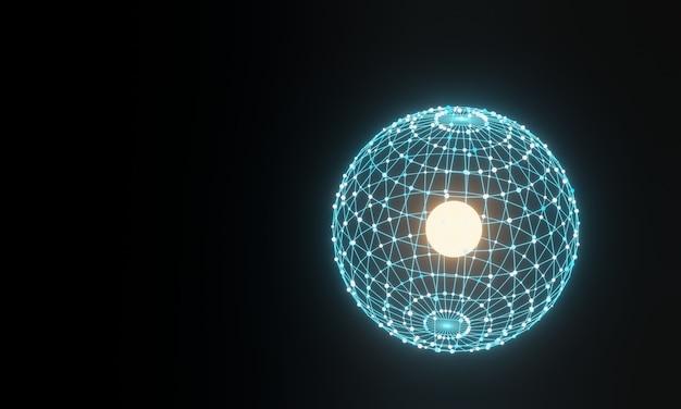 3d 구형 그리드 입자. 추상 과학 배경입니다.