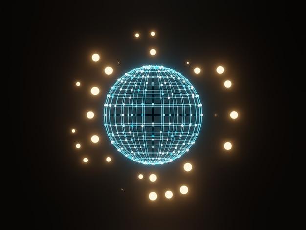 3d 구형 그리드 입자. 추상 과학 배경입니다. 프리미엄 사진