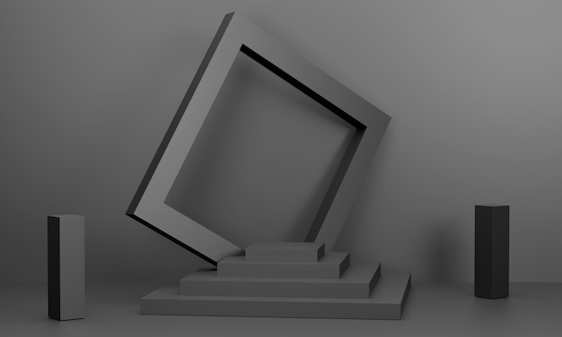 3d square podium arranged in layers black picture frame it is noticeable presented scene stage