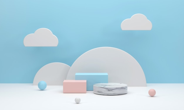 3d. square podium and marble circle white semicircle backdrop in a blue studio with clouds for displaying products