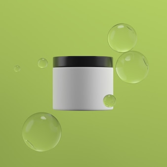 3d square render of beauty bottle among spheres. fresh color gamma.  smooth lighting.  single cream bottle with cap in the center of frame.