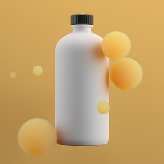 球の間の美容ボトルの3d正方形レンダリング。フレッシュカラーガンマ。スムーズな照明。フレームの中央にキャップが付いたシングルクリームボトル。