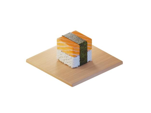 3d square salmon sushi isometric concept